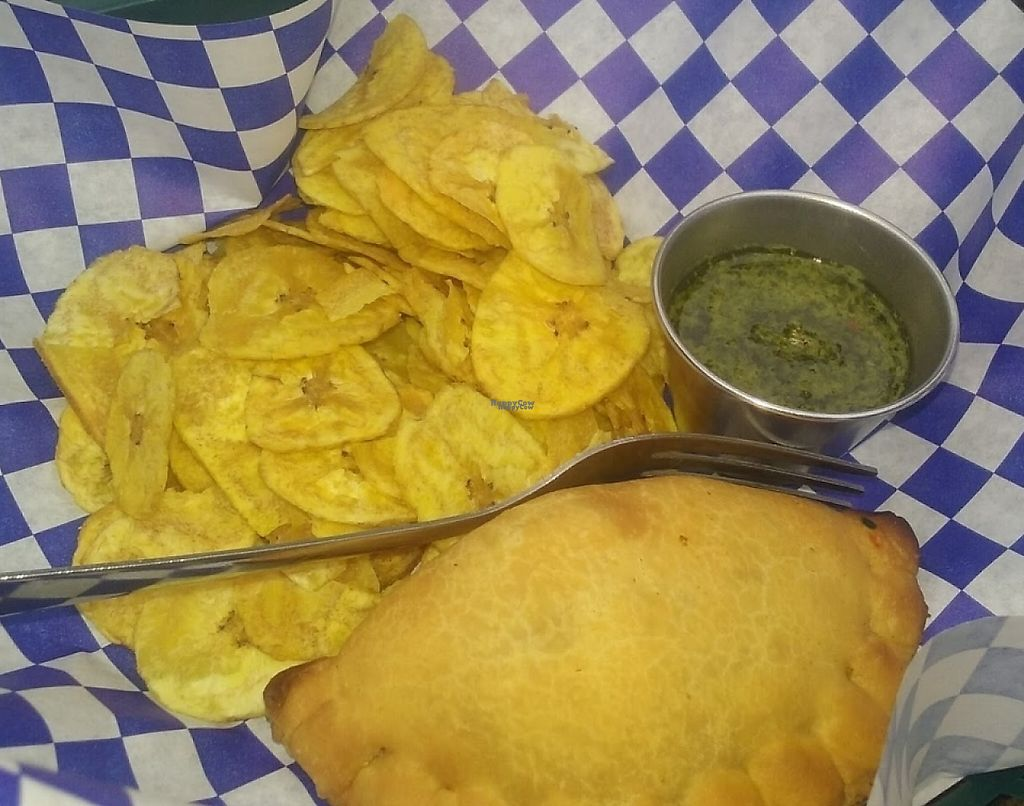 "Photo of Campesino Coffee House  by <a href=""/members/profile/veggie_htx"">veggie_htx</a> <br/>Vegan empanada, plantain chips and chimmicurri <br/> October 19, 2016  - <a href='/contact/abuse/image/81546/228331'>Report</a>"