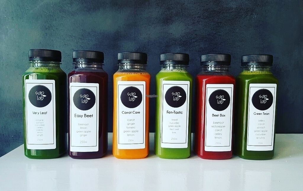 """Photo of Saplab Slowjuice  by <a href=""""/members/profile/CMJ"""">CMJ</a> <br/>Refuel and recover with one of these body boosting slow juices. Full of fresh and raw vegetables, slowly juiced for the highest amount of nutrients. No additives, no sugar, pure goodness <br/> October 18, 2016  - <a href='/contact/abuse/image/81559/182769'>Report</a>"""