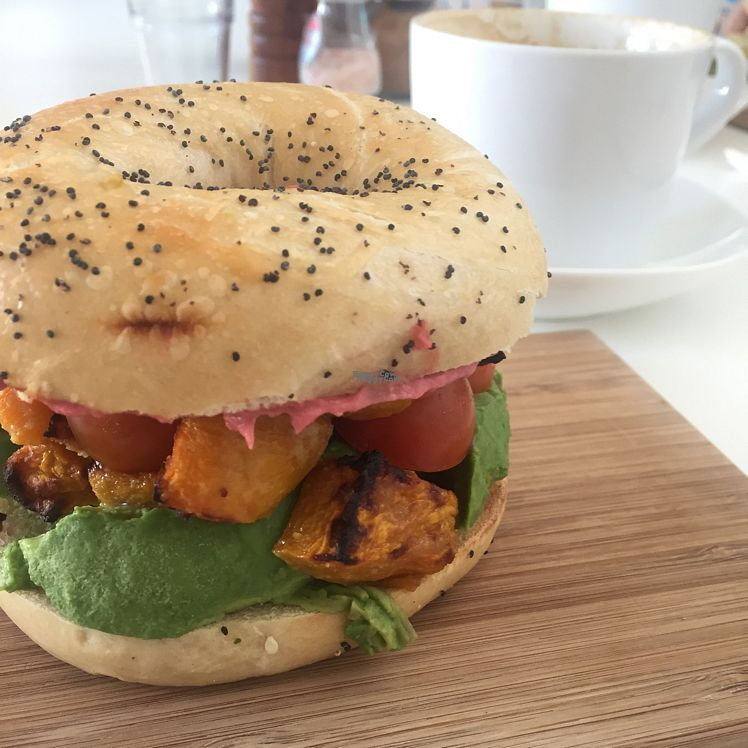 "Photo of Four Espresso  by <a href=""/members/profile/SallyEller"">SallyEller</a> <br/>Bagel stuffed with beer hommus, roast pumpkin, avocado, cherry tomatoes and baby spinach <br/> October 21, 2016  - <a href='/contact/abuse/image/81574/183285'>Report</a>"