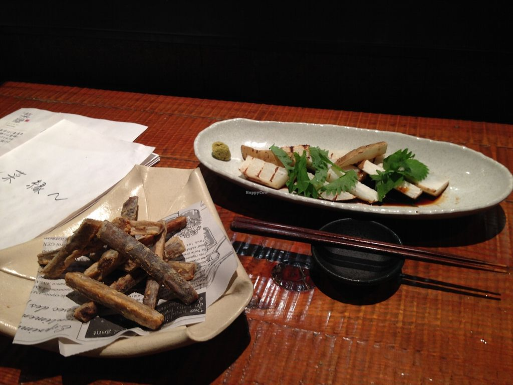 """Photo of Saien Organic Izakaya   by <a href=""""/members/profile/JeppoMAX"""">JeppoMAX</a> <br/>Fried burdock and grilled yama-imo <br/> October 17, 2017  - <a href='/contact/abuse/image/81579/316000'>Report</a>"""