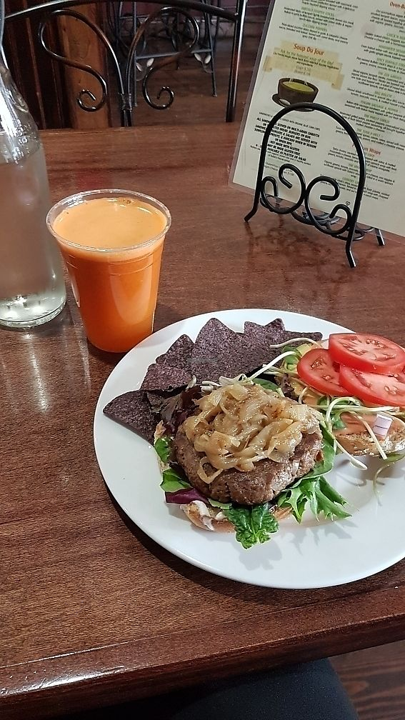 """Photo of Subia's Organic Cafe and Market  by <a href=""""/members/profile/NipaJoyBetge"""">NipaJoyBetge</a> <br/>California dreamin' burger and flu fighter juice <br/> June 7, 2017  - <a href='/contact/abuse/image/8160/266786'>Report</a>"""