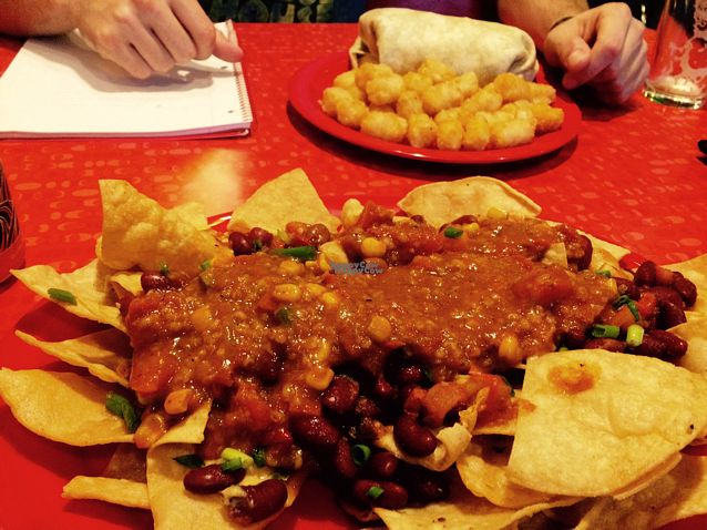 """Photo of The Friendly Toast  by <a href=""""/members/profile/Cwaldron08"""">Cwaldron08</a> <br/>vegan nachos with vegan chili and delicious melted vegan cheese hidden underneath! <br/> October 19, 2016  - <a href='/contact/abuse/image/81685/183018'>Report</a>"""