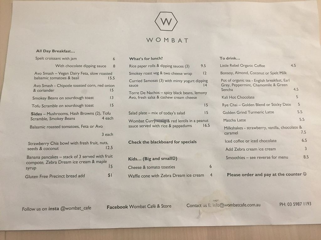 "Photo of Wombat Cafe & Store  by <a href=""/members/profile/Tiggy"">Tiggy</a> <br/>Food menu - March 2017 <br/> March 13, 2017  - <a href='/contact/abuse/image/81695/235735'>Report</a>"