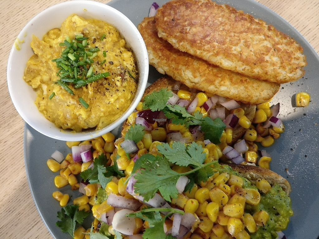 "Photo of Wombat Cafe & Store  by <a href=""/members/profile/Aloo"">Aloo</a> <br/>Avocado with chipotle grilled corn and coriander, with a side of scrambled tofu and hash browns.  <br/> March 13, 2017  - <a href='/contact/abuse/image/81695/235832'>Report</a>"