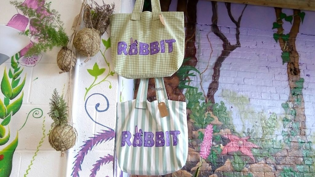 """Photo of Rabbit Vegan Cafe  by <a href=""""/members/profile/VeganWitchery"""">VeganWitchery</a> <br/>Rabbit Shopping Bags, for sale :) <br/> February 16, 2017  - <a href='/contact/abuse/image/81698/227094'>Report</a>"""
