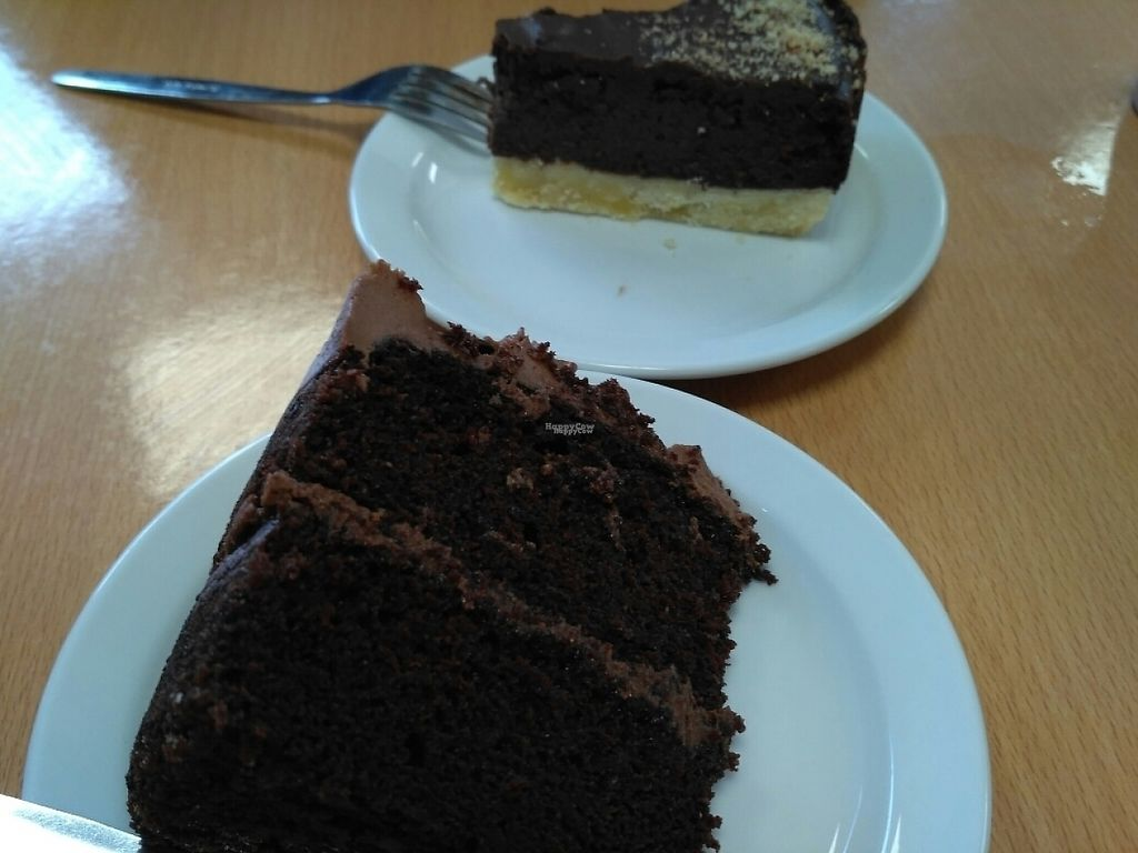 """Photo of Rabbit Vegan Cafe  by <a href=""""/members/profile/Miggi"""">Miggi</a> <br/>choccy cake and choccy and haslenut fudge torte <br/> February 18, 2017  - <a href='/contact/abuse/image/81698/227988'>Report</a>"""