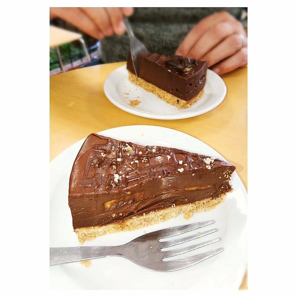 """Photo of Rabbit Vegan Cafe  by <a href=""""/members/profile/Fay84Vegan"""">Fay84Vegan</a> <br/>Chocolate Caramel Cheese Cake  <br/> February 22, 2018  - <a href='/contact/abuse/image/81698/362218'>Report</a>"""