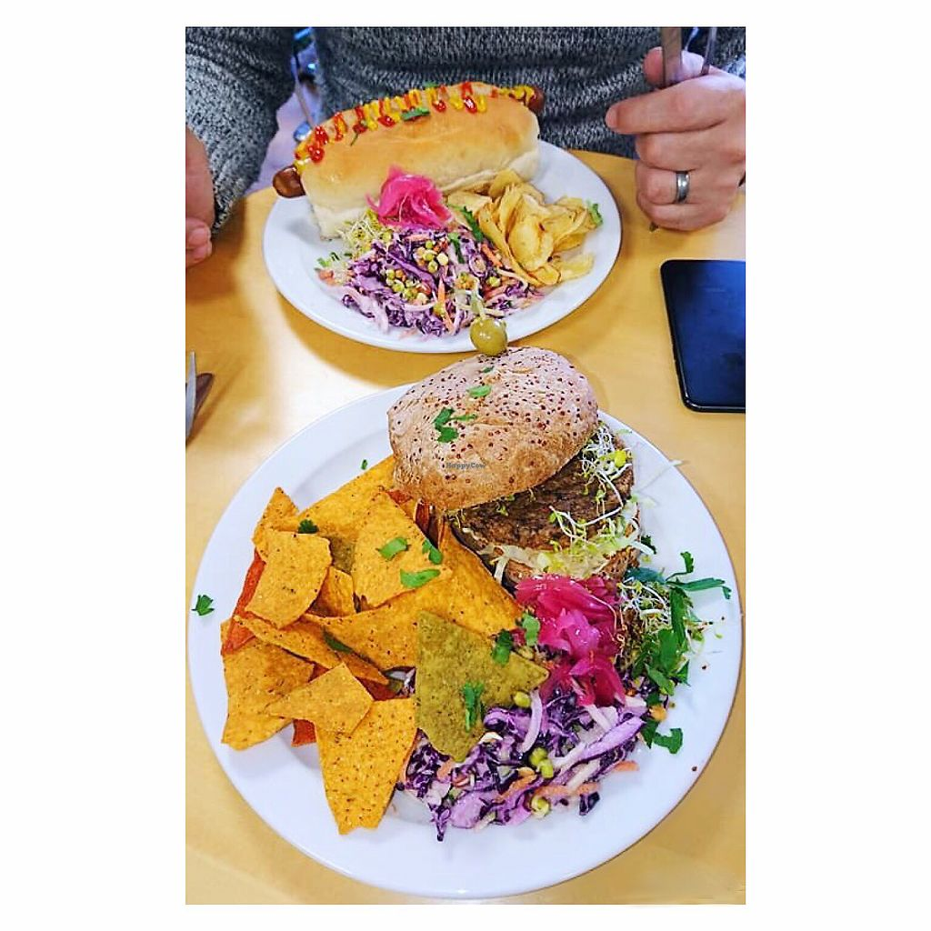 """Photo of Rabbit Vegan Cafe  by <a href=""""/members/profile/Fay84Vegan"""">Fay84Vegan</a> <br/>Walnut & Quinoa Burger on Gluten Free Bun, Coleslaw & Tortilla Chips (in the back ground Tofu Dog) <br/> February 22, 2018  - <a href='/contact/abuse/image/81698/362220'>Report</a>"""