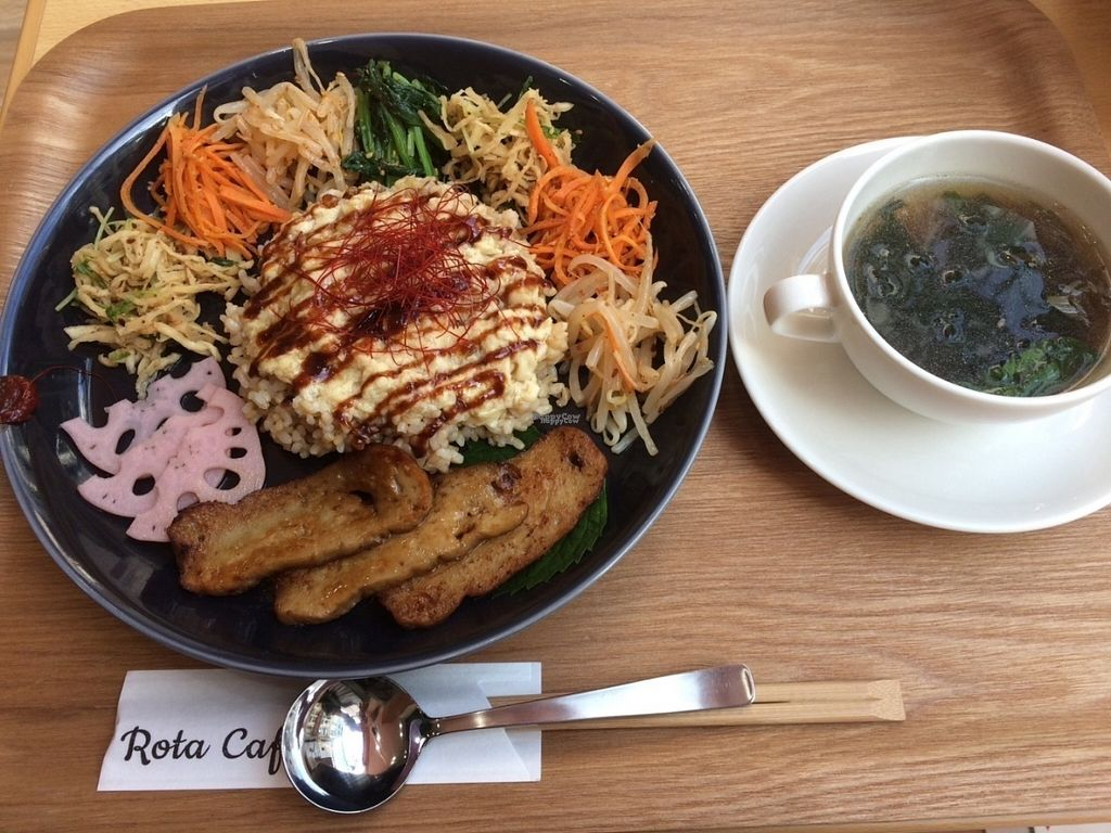 "Photo of Rota Cafe  by <a href=""/members/profile/SaayaM"">SaayaM</a> <br/>Korean bibimbap with fake egg made from Yuba (tofu skin) <br/> October 21, 2016  - <a href='/contact/abuse/image/81731/183398'>Report</a>"
