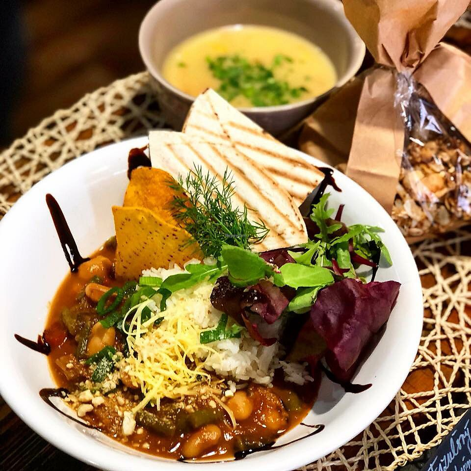 """Photo of Simply Vegan  by <a href=""""/members/profile/Romain"""">Romain</a> <br/>Roasted Cauliflower Soup with Topinambur & Bean Goulash on Red Wine with Lemon Rice and Salad Plates <br/> November 9, 2017  - <a href='/contact/abuse/image/81763/323492'>Report</a>"""