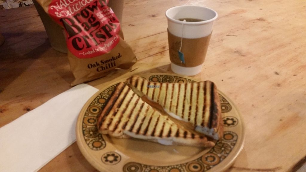 """Photo of Sham City Roasters  by <a href=""""/members/profile/SiobhanSlattery"""">SiobhanSlattery</a> <br/>Yummy vegan lunch! A vegan 'ham' and 'cheese' grilled cheese, with vegan crisps and a yummy mint tea! And the coffee is amazing - been drinking it for the past year!  <br/> October 25, 2016  - <a href='/contact/abuse/image/81790/184268'>Report</a>"""