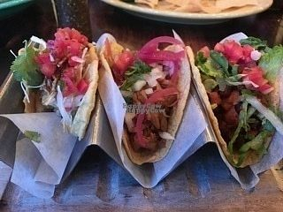 """Photo of Tacos & Beer  by <a href=""""/members/profile/Majaejae"""">Majaejae</a> <br/>From left to right  1/2 eaten Beer Battered Avocado Taco Jackfruit Taco Black bean / Pineapple Taco <br/> October 21, 2016  - <a href='/contact/abuse/image/81799/183456'>Report</a>"""