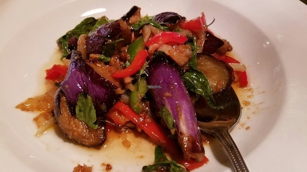 """Photo of Emporium Thai  by <a href=""""/members/profile/kenvegan"""">kenvegan</a> <br/>Spicy Eggplant with Sweet Basil <br/> October 27, 2016  - <a href='/contact/abuse/image/81807/184758'>Report</a>"""