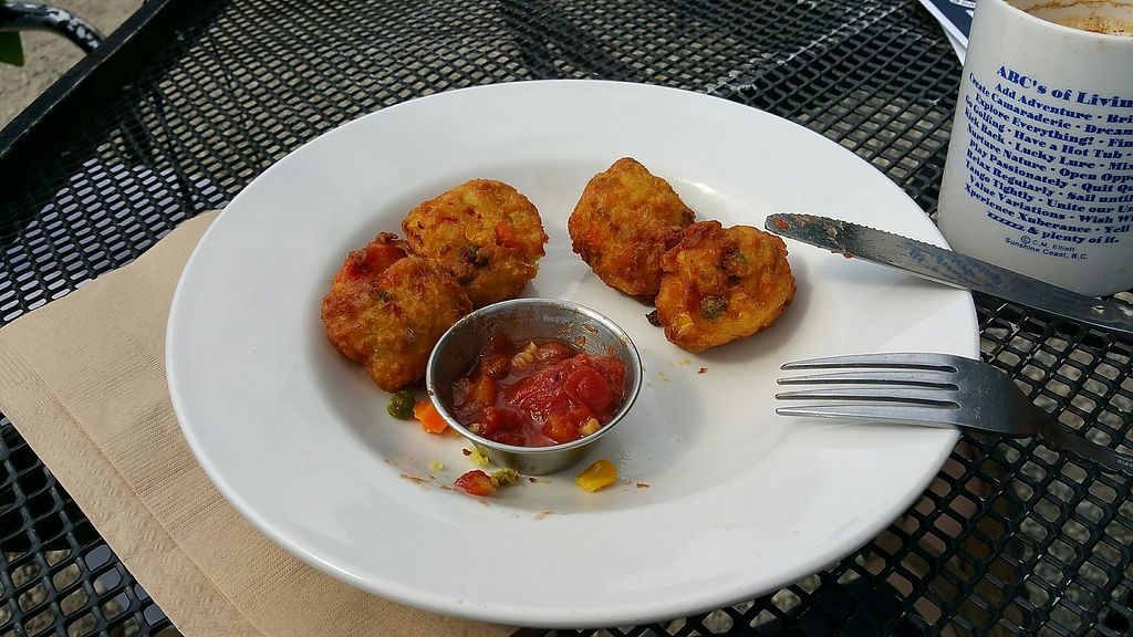 """Photo of The Gumboot Cafe  by <a href=""""/members/profile/SelenaMcConnell"""">SelenaMcConnell</a> <br/>Veggie pakoras, so yummy...second visit in 2 days. Must try! <br/> August 18, 2017  - <a href='/contact/abuse/image/81813/294102'>Report</a>"""