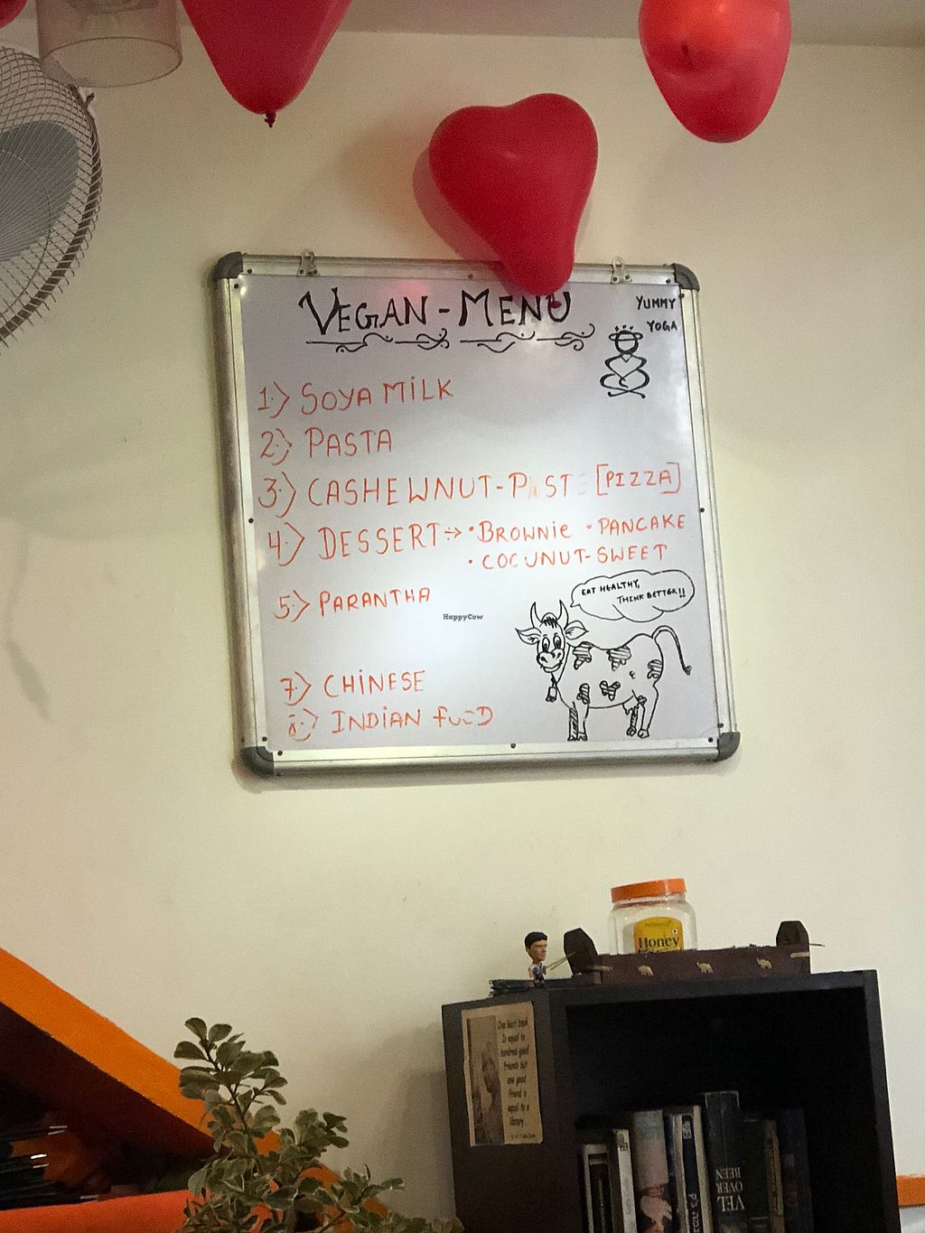 "Photo of Yummy Yoga Cafe  by <a href=""/members/profile/Anissarose"">Anissarose</a> <br/>""Vegan menu"" <br/> January 5, 2018  - <a href='/contact/abuse/image/81820/343145'>Report</a>"