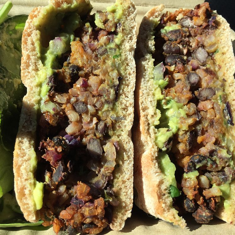 """Photo of Naked Lunch  by <a href=""""/members/profile/EatsPlants"""">EatsPlants</a> <br/>Bean burger on spelt flour bun w avocado spread <br/> October 22, 2016  - <a href='/contact/abuse/image/81843/183775'>Report</a>"""