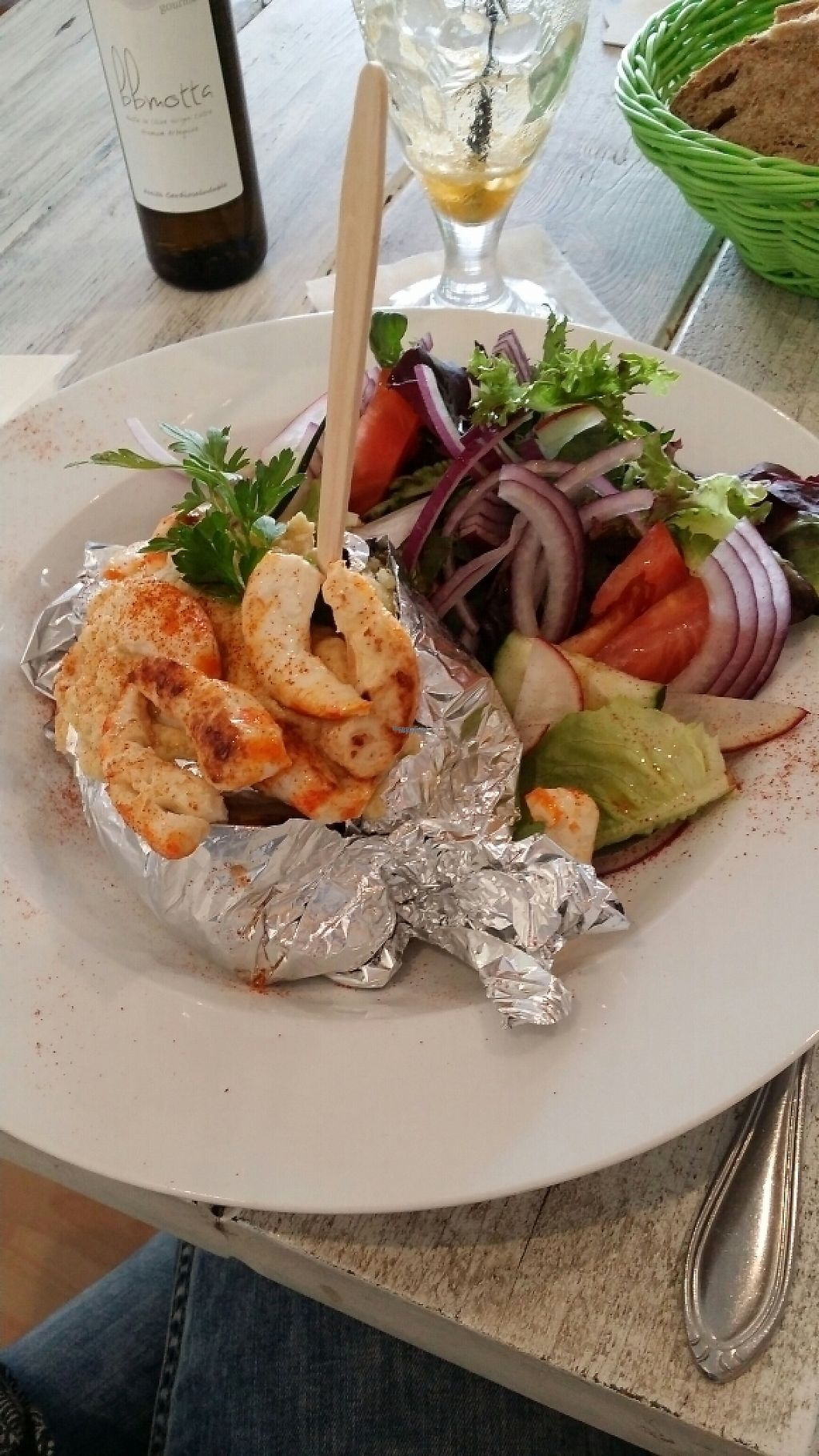"""Photo of The Green Box  by <a href=""""/members/profile/Lenalita"""">Lenalita</a> <br/>Baked potatoes with vegan Shrimps and hummus <br/> April 7, 2017  - <a href='/contact/abuse/image/81847/245507'>Report</a>"""