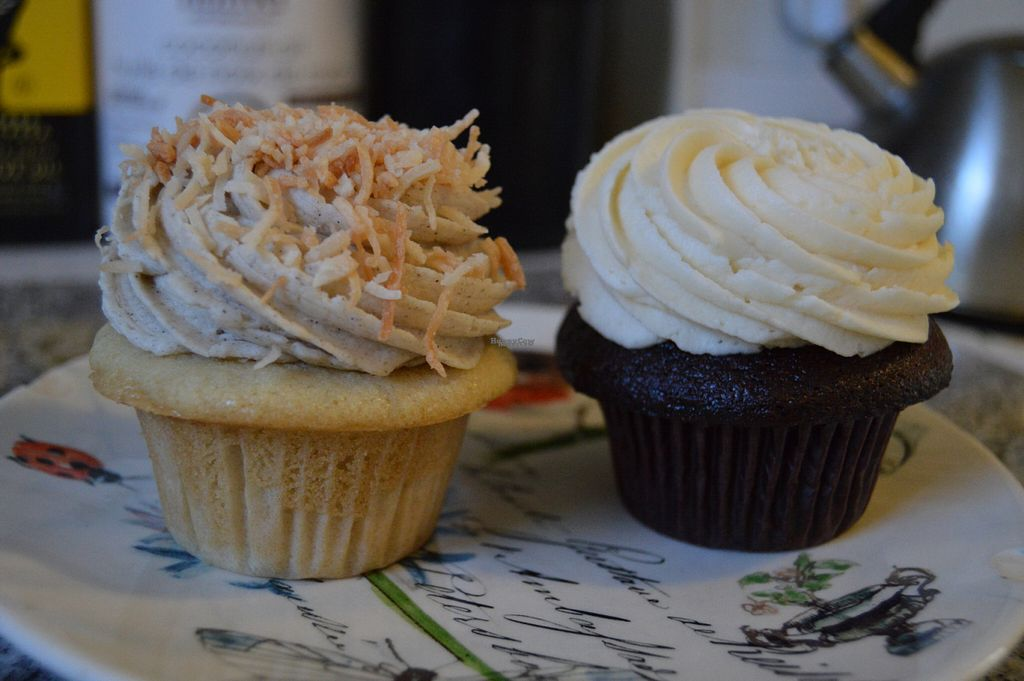 """Photo of Prairie Girl Bakery - Bloor St  by <a href=""""/members/profile/Vegan%20GiGi"""">Vegan GiGi</a> <br/>Vegan coconut cupcake and vegan red velvet with cream cheese frosting <br/> October 23, 2016  - <a href='/contact/abuse/image/81852/183994'>Report</a>"""