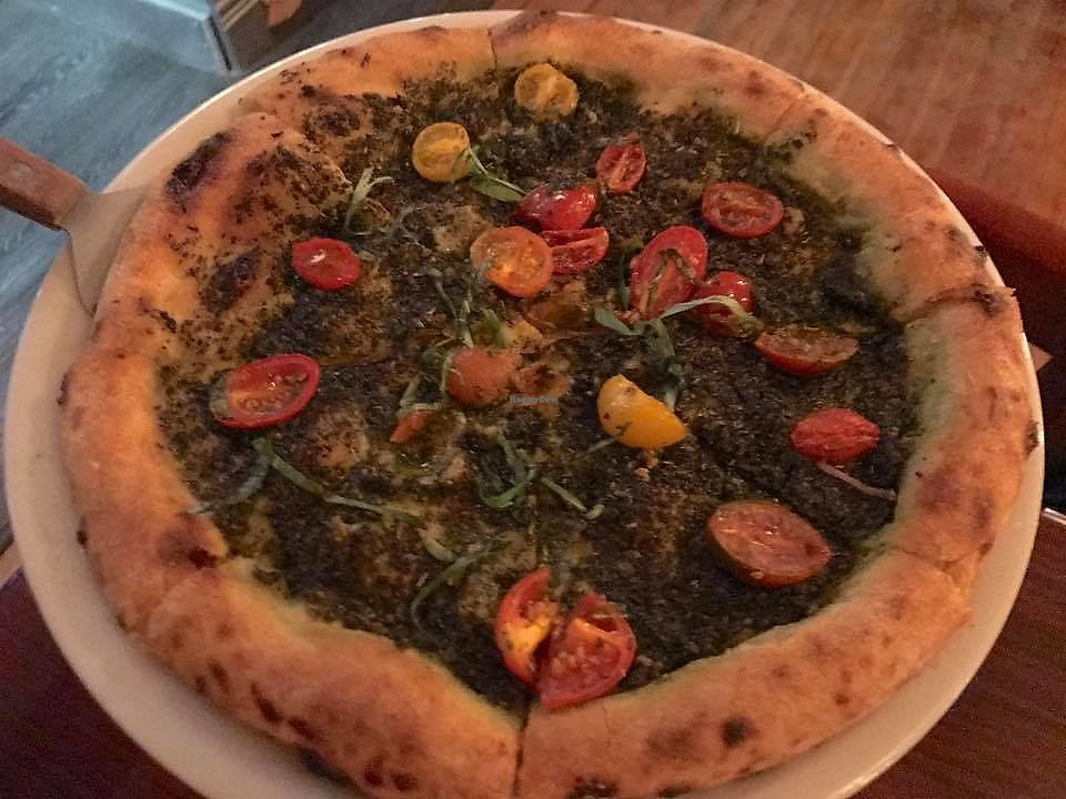 "Photo of Woodstock Pizza and Trattoria  by <a href=""/members/profile/VeganFriendsNotFood"">VeganFriendsNotFood</a> <br/>Pesto Pizza with Grape tomatoes <br/> November 19, 2017  - <a href='/contact/abuse/image/81921/327082'>Report</a>"