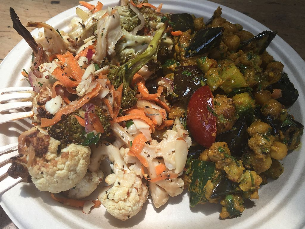"""Photo of Timbuktu Nomadic Deli  by <a href=""""/members/profile/VeganKavi"""">VeganKavi</a> <br/>Broccoli cauliflower salad and eggplant chick peas with coriander.  <br/> December 23, 2017  - <a href='/contact/abuse/image/81930/338297'>Report</a>"""