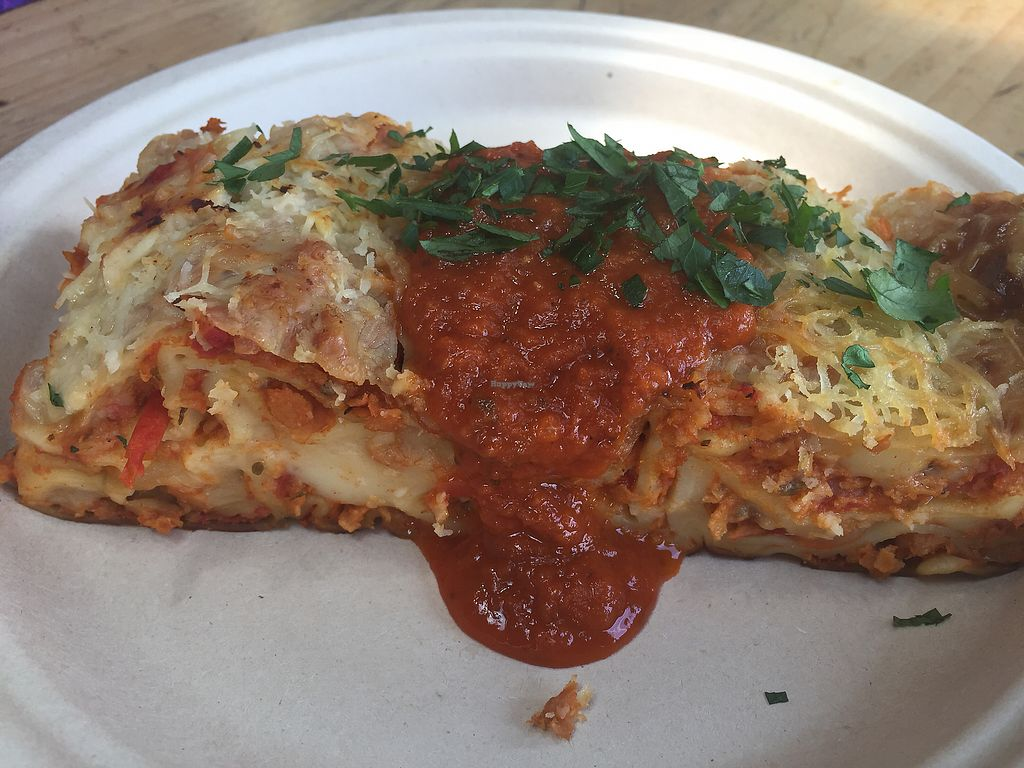 """Photo of Timbuktu Nomadic Deli  by <a href=""""/members/profile/VeganKavi"""">VeganKavi</a> <br/>Lasagne with vegan cheese <br/> December 23, 2017  - <a href='/contact/abuse/image/81930/338300'>Report</a>"""