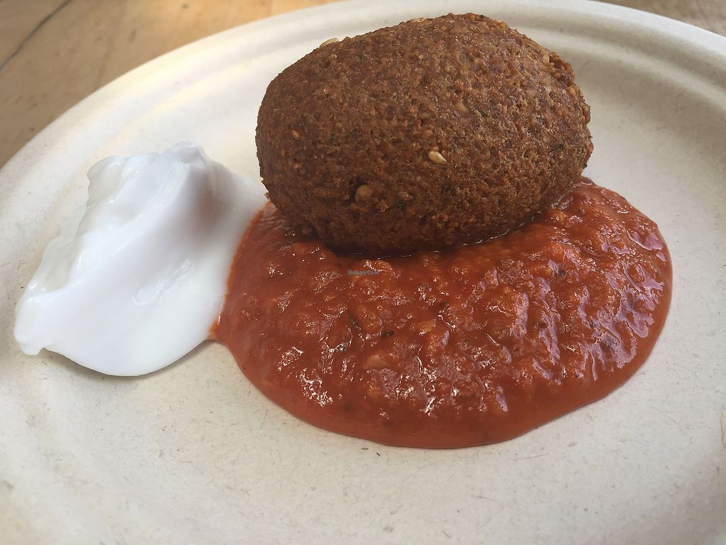 """Photo of Timbuktu Nomadic Deli  by <a href=""""/members/profile/VeganKavi"""">VeganKavi</a> <br/>Falafel with tomato sauce and coconut yoghurt <br/> December 23, 2017  - <a href='/contact/abuse/image/81930/338301'>Report</a>"""