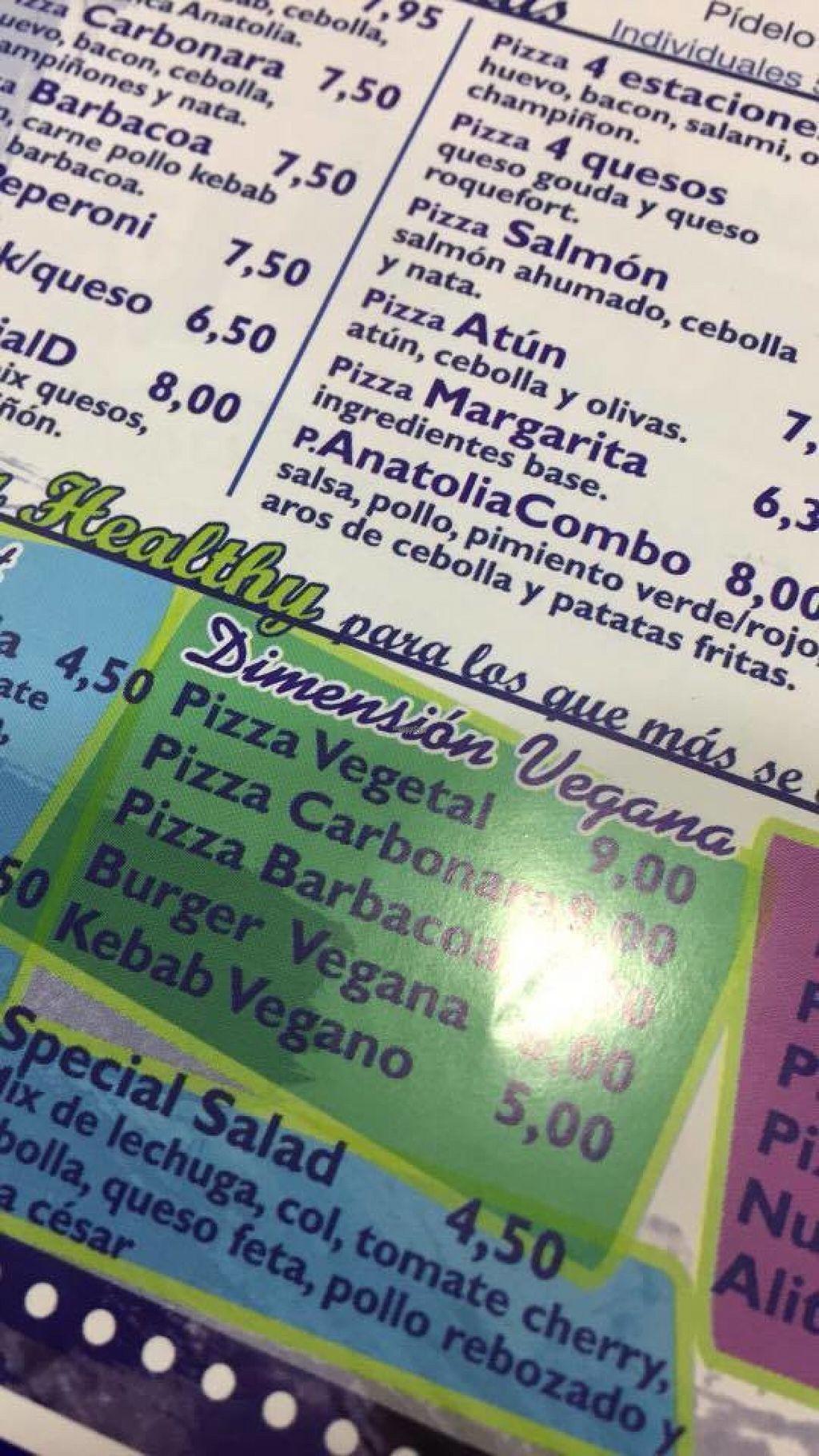 """Photo of Anatolia Kebab  by <a href=""""/members/profile/AlbaHM"""">AlbaHM</a> <br/>La carta de productos veganos. Tienen otra pizza nueva que no está en la lista <br/> November 2, 2016  - <a href='/contact/abuse/image/81966/186068'>Report</a>"""