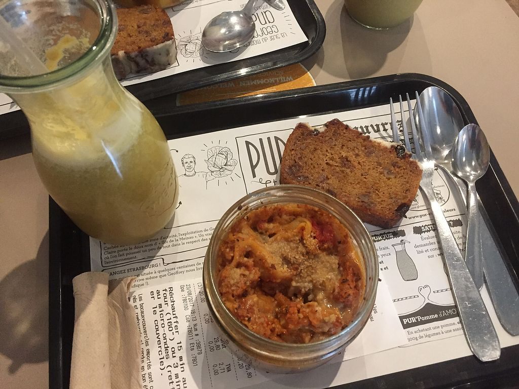"""Photo of PUR etc  by <a href=""""/members/profile/Nanie"""">Nanie</a> <br/>Fresh made juice, vegan lasagna and carrot cake ❤️ <br/> August 23, 2017  - <a href='/contact/abuse/image/81969/296444'>Report</a>"""