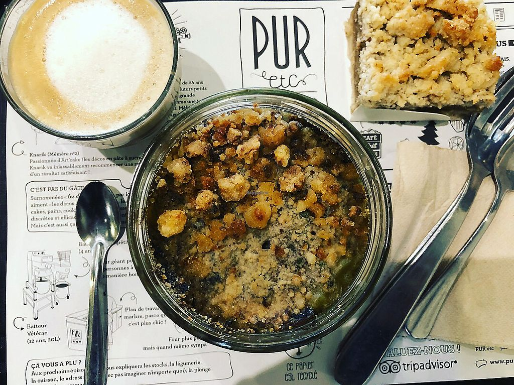 """Photo of PUR etc  by <a href=""""/members/profile/NormaJReynolds"""">NormaJReynolds</a> <br/>Latte. Spinach mushroom potato crumble. Coffee cake  <br/> May 5, 2018  - <a href='/contact/abuse/image/81969/395642'>Report</a>"""