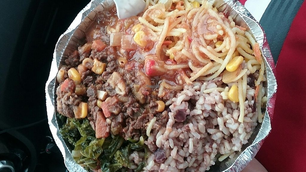 """Photo of Vegan's Delight  by <a href=""""/members/profile/purelyangi"""">purelyangi</a> <br/>GF pasta, Vegan Mince, spicy steamed kale, bean brown rice <br/> March 9, 2017  - <a href='/contact/abuse/image/8197/234553'>Report</a>"""