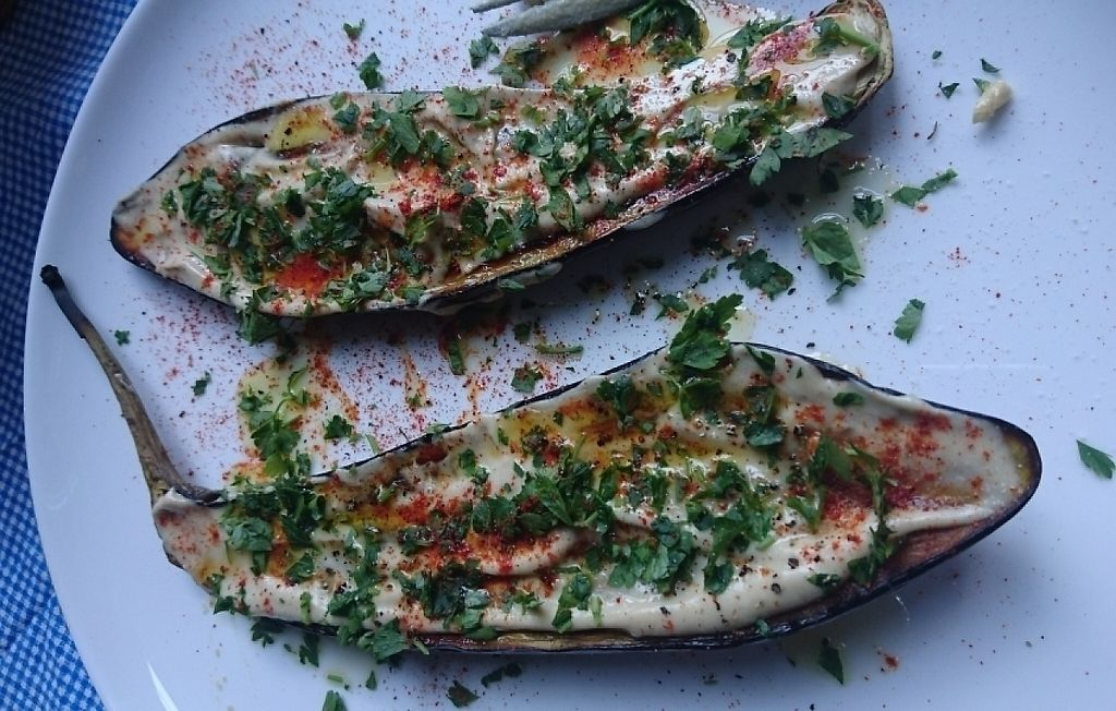 """Photo of Hummusbar  by <a href=""""/members/profile/edwardboyle"""">edwardboyle</a> <br/>Aubergine and tahini  <br/> March 24, 2017  - <a href='/contact/abuse/image/82037/240216'>Report</a>"""