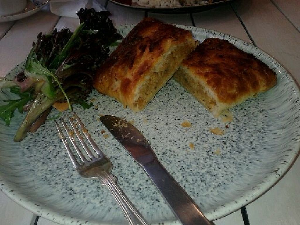 """Photo of Wildflower Creative Kitchen  by <a href=""""/members/profile/deadpledge"""">deadpledge</a> <br/>Cheesy lentil pasty and salad <br/> February 6, 2017  - <a href='/contact/abuse/image/82039/223721'>Report</a>"""
