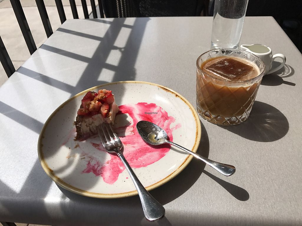 """Photo of Berkeley North  by <a href=""""/members/profile/Elizabeth%20Jacquet"""">Elizabeth Jacquet</a> <br/>Vegan cheezecake, iced coffee with coffee ice cube! <br/> May 17, 2017  - <a href='/contact/abuse/image/82047/259526'>Report</a>"""
