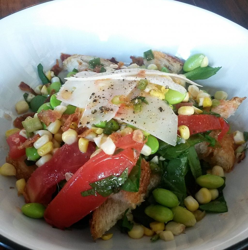 "Photo of Broomwagon Coffee and Bikes  by <a href=""/members/profile/Taffy"">Taffy</a> <br/>Succotash salad special. Salad specials are rotating based a local harvests.  <br/> September 11, 2017  - <a href='/contact/abuse/image/82056/303325'>Report</a>"