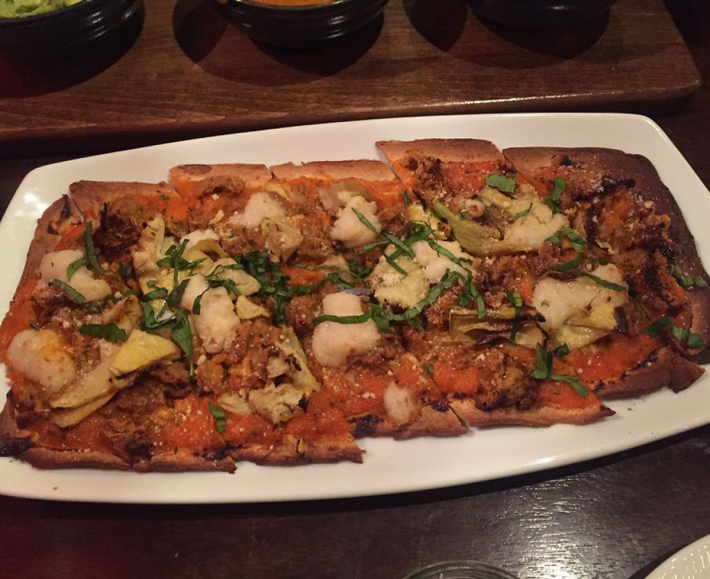 """Photo of V-Eats  by <a href=""""/members/profile/LinnDaugherty"""">LinnDaugherty</a> <br/>artichoke and sausage pizza - amazing <br/> January 6, 2017  - <a href='/contact/abuse/image/82061/208554'>Report</a>"""