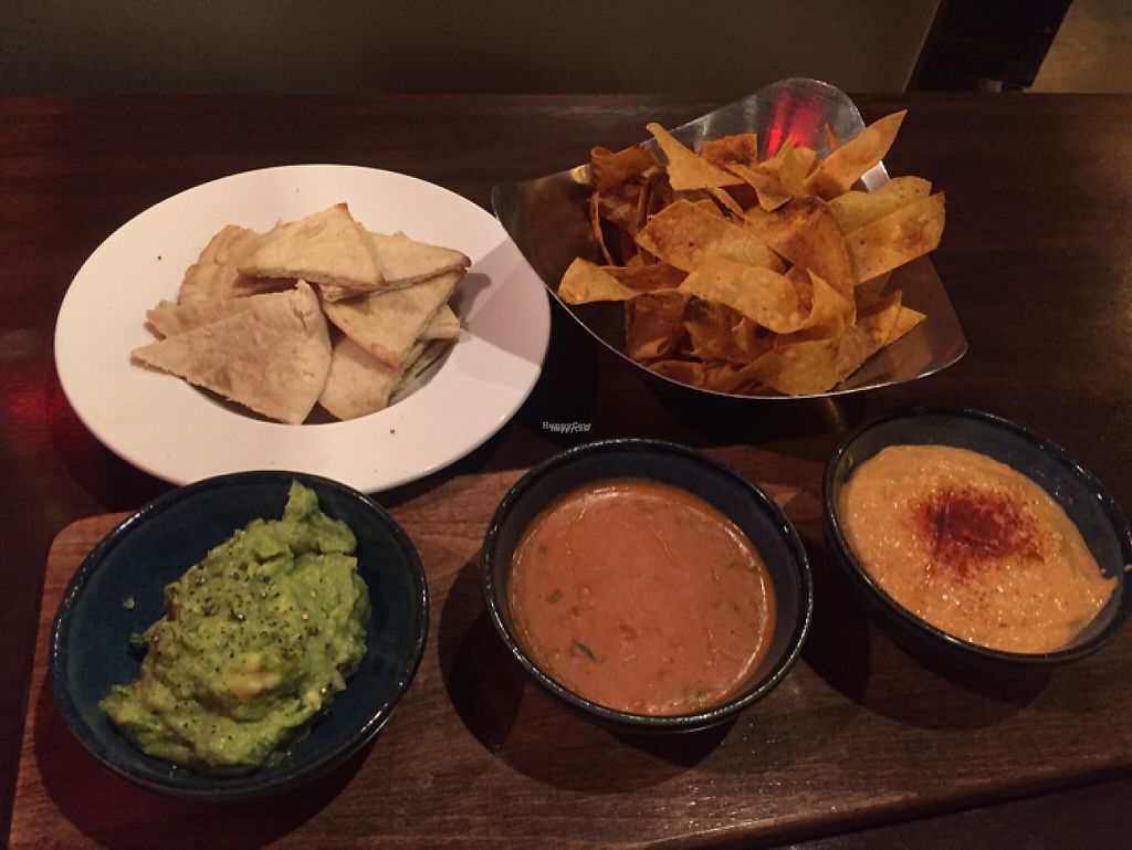 """Photo of V-Eats  by <a href=""""/members/profile/LinnDaugherty"""">LinnDaugherty</a> <br/>pick 3 dips - guacamole, chili con quest, paprika n bean hummus <br/> January 6, 2017  - <a href='/contact/abuse/image/82061/208555'>Report</a>"""