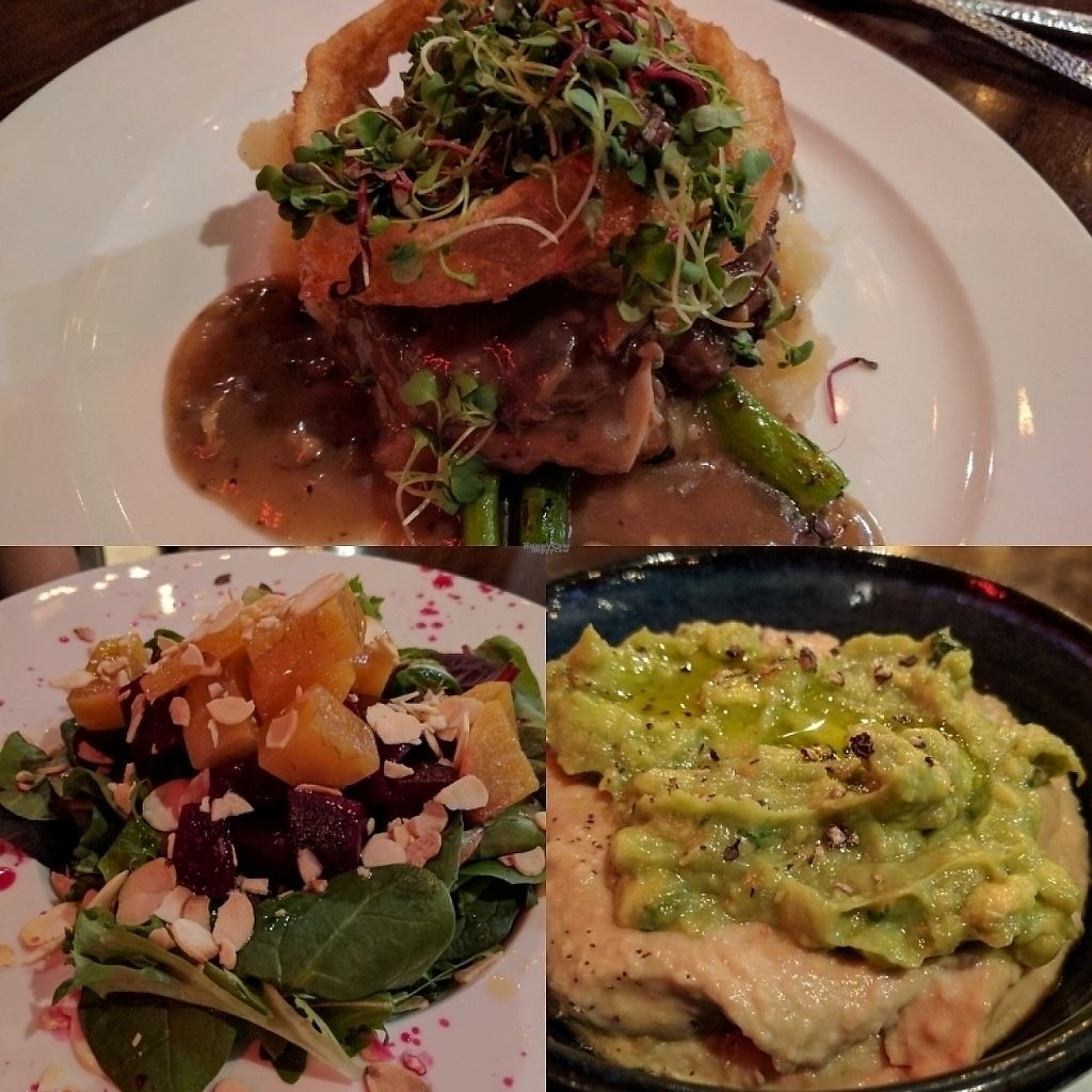 """Photo of V-Eats  by <a href=""""/members/profile/GaryHart"""">GaryHart</a> <br/>Avacado and jalapeño hummus, citrus beet salad and the salsbury steak <br/> February 18, 2017  - <a href='/contact/abuse/image/82061/227719'>Report</a>"""