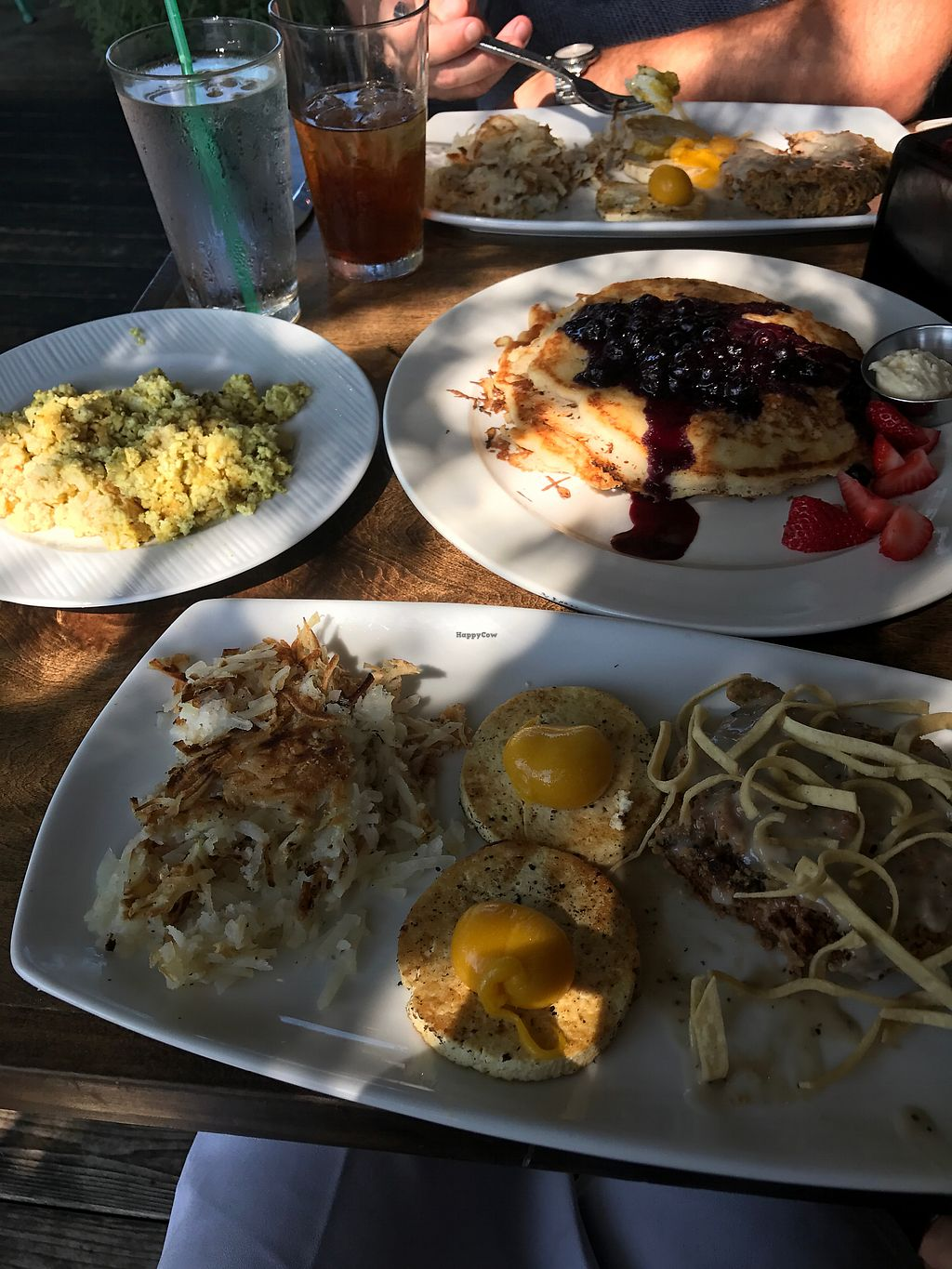 """Photo of V-Eats  by <a href=""""/members/profile/amygb"""">amygb</a> <br/>Chicken Fried Steak and Fruit Pancakes with tofu scramble.  <br/> August 20, 2017  - <a href='/contact/abuse/image/82061/294829'>Report</a>"""
