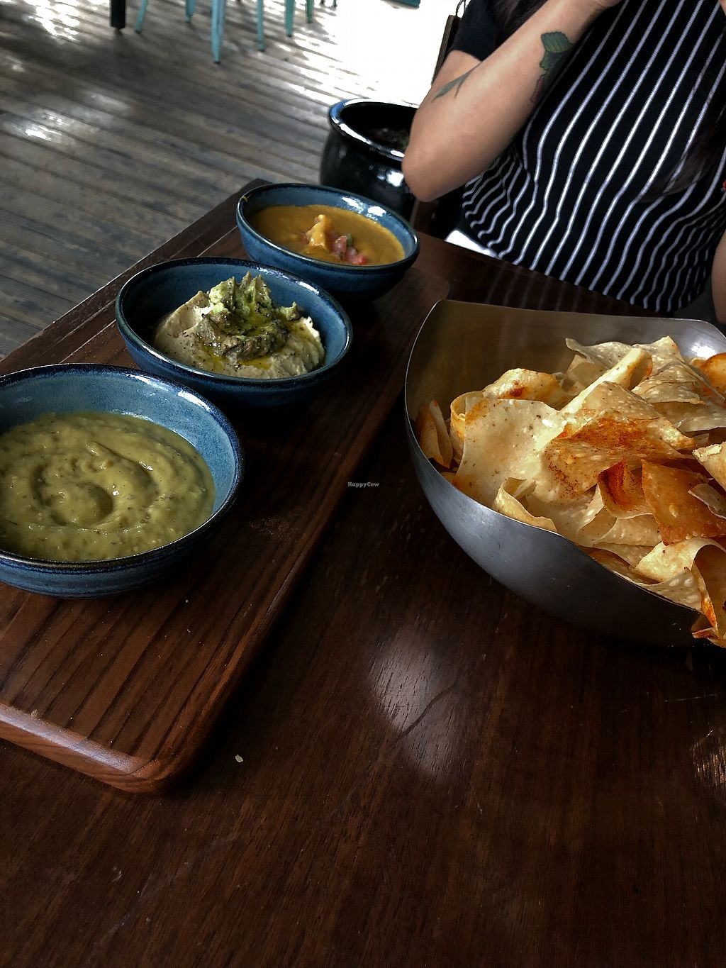 """Photo of V-Eats  by <a href=""""/members/profile/IannLopez"""">IannLopez</a> <br/>Trio dip consisting of the Salsa Verde, Hummus dip and Chili Con Quest <br/> February 25, 2018  - <a href='/contact/abuse/image/82061/363804'>Report</a>"""