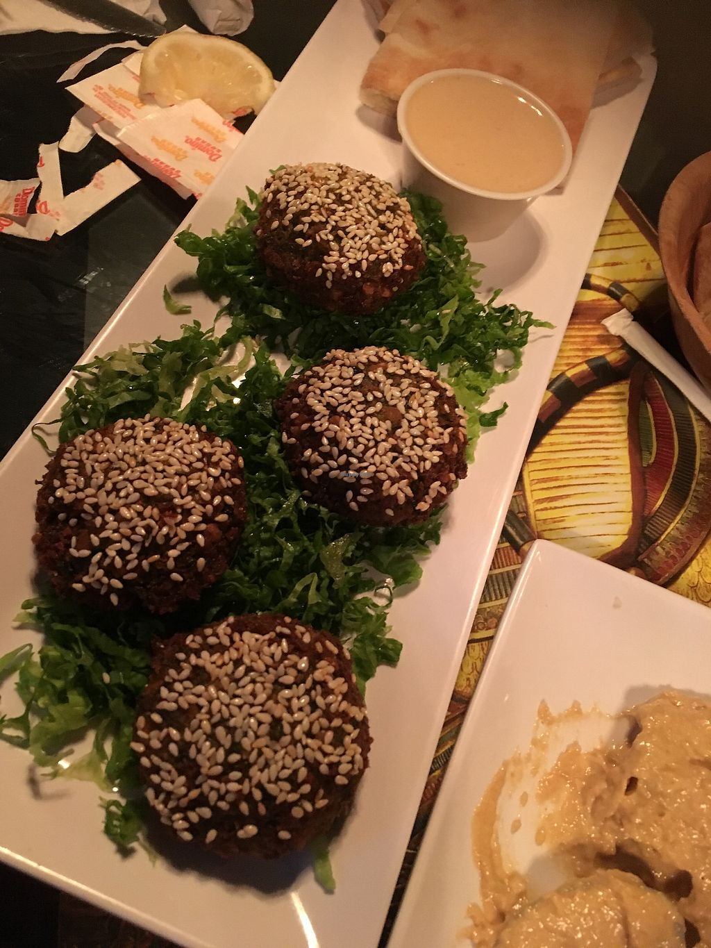 """Photo of King Tut  by <a href=""""/members/profile/SharonLaneHenderson"""">SharonLaneHenderson</a> <br/>Falafel app with tahini. you won't regret it! <br/> August 13, 2017  - <a href='/contact/abuse/image/82097/292297'>Report</a>"""
