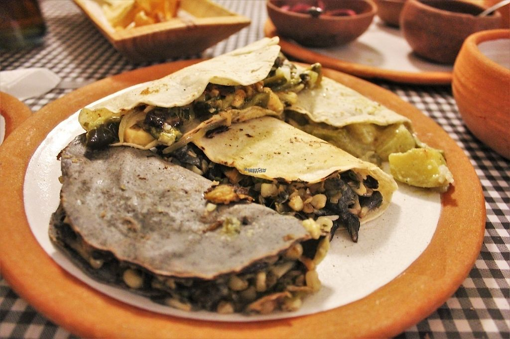 """Photo of Cabuche  by <a href=""""/members/profile/charlieontravel"""">charlieontravel</a> <br/>Vegetarian tacos with loads of different fillings. 4 different options, some are vegan. Creative options including prickly pear, green pepper with cheese, and curried veg <br/> November 10, 2016  - <a href='/contact/abuse/image/82103/188273'>Report</a>"""