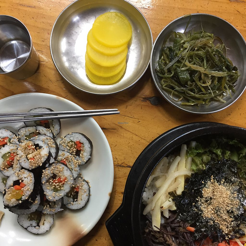 """Photo of Myeongshin - 명신식당  by <a href=""""/members/profile/Kels415"""">Kels415</a> <br/>Bibimbap and kimbap w/ tofu  <br/> February 6, 2018  - <a href='/contact/abuse/image/82112/355587'>Report</a>"""