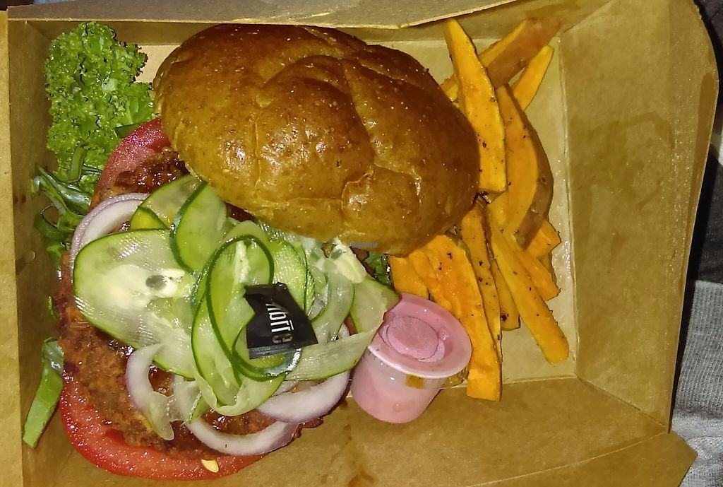 """Photo of fibrre  by <a href=""""/members/profile/ellisrl"""">ellisrl</a> <br/>Quinoa burger with baked sweet potato fries. Have non vegan options also. Everything is made fresh in house. Great place a little tricky to find <br/> January 7, 2017  - <a href='/contact/abuse/image/82169/209159'>Report</a>"""