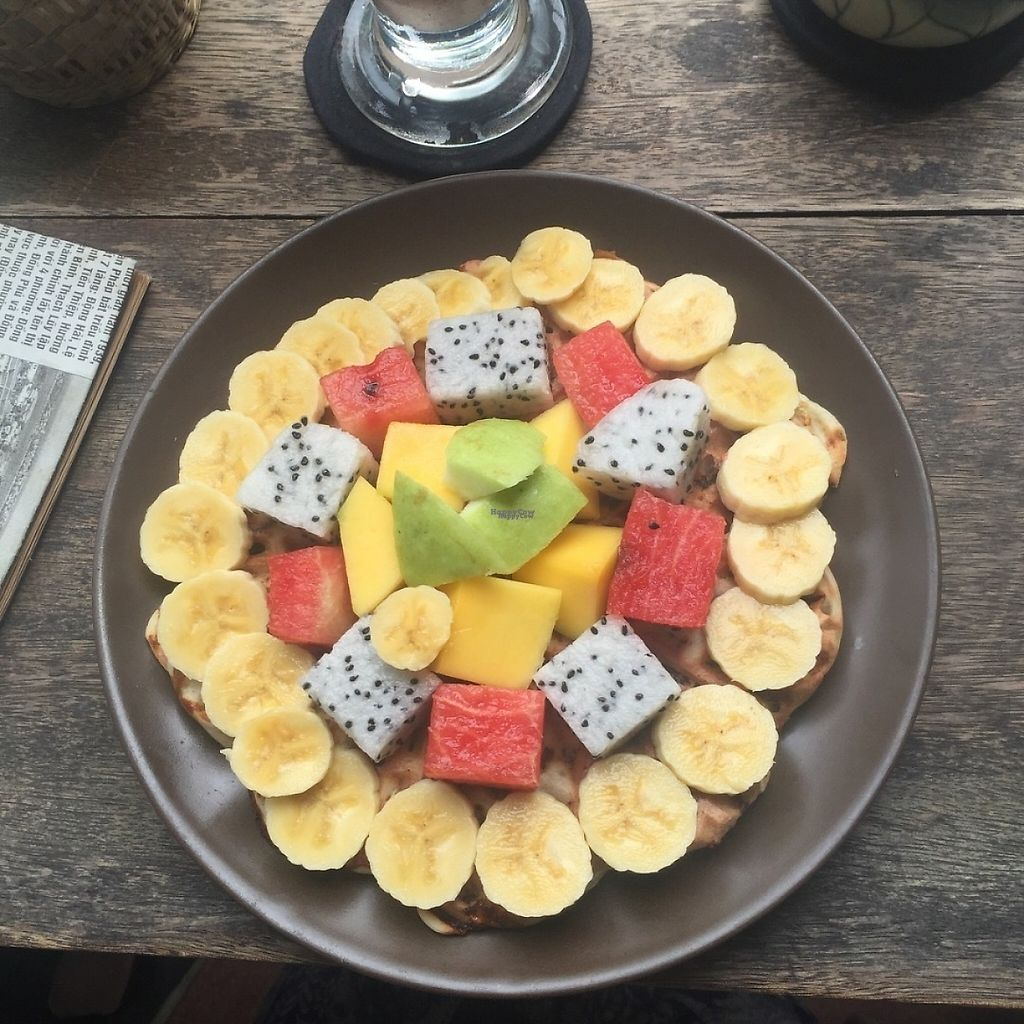 """Photo of Tree Hugger Cafe  by <a href=""""/members/profile/Juli%C3%ABttevE"""">JuliëttevE</a> <br/>vegan waffle with mixed fruit <br/> March 18, 2017  - <a href='/contact/abuse/image/82194/237799'>Report</a>"""