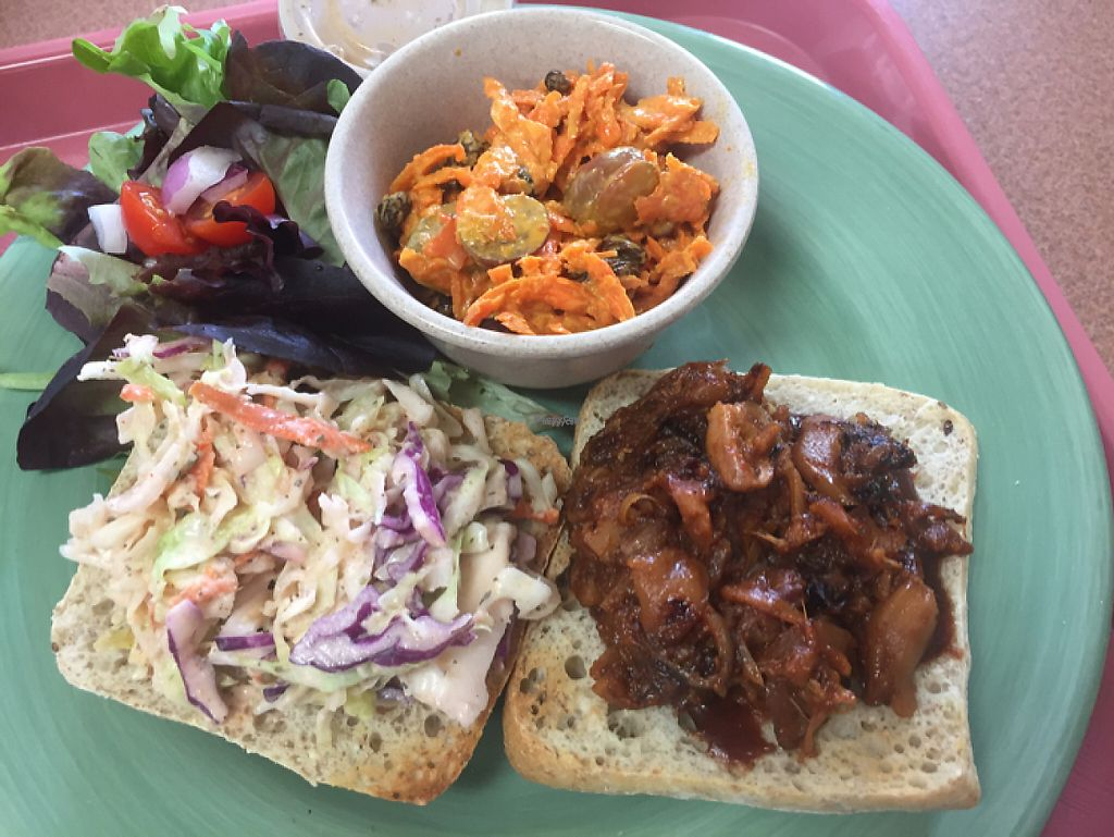 "Photo of Plant Power Cafe & Juice Bar  by <a href=""/members/profile/DanaS45"">DanaS45</a> <br/>Jack Fruit BBQ with carrot salad  <br/> November 22, 2016  - <a href='/contact/abuse/image/82221/193231'>Report</a>"