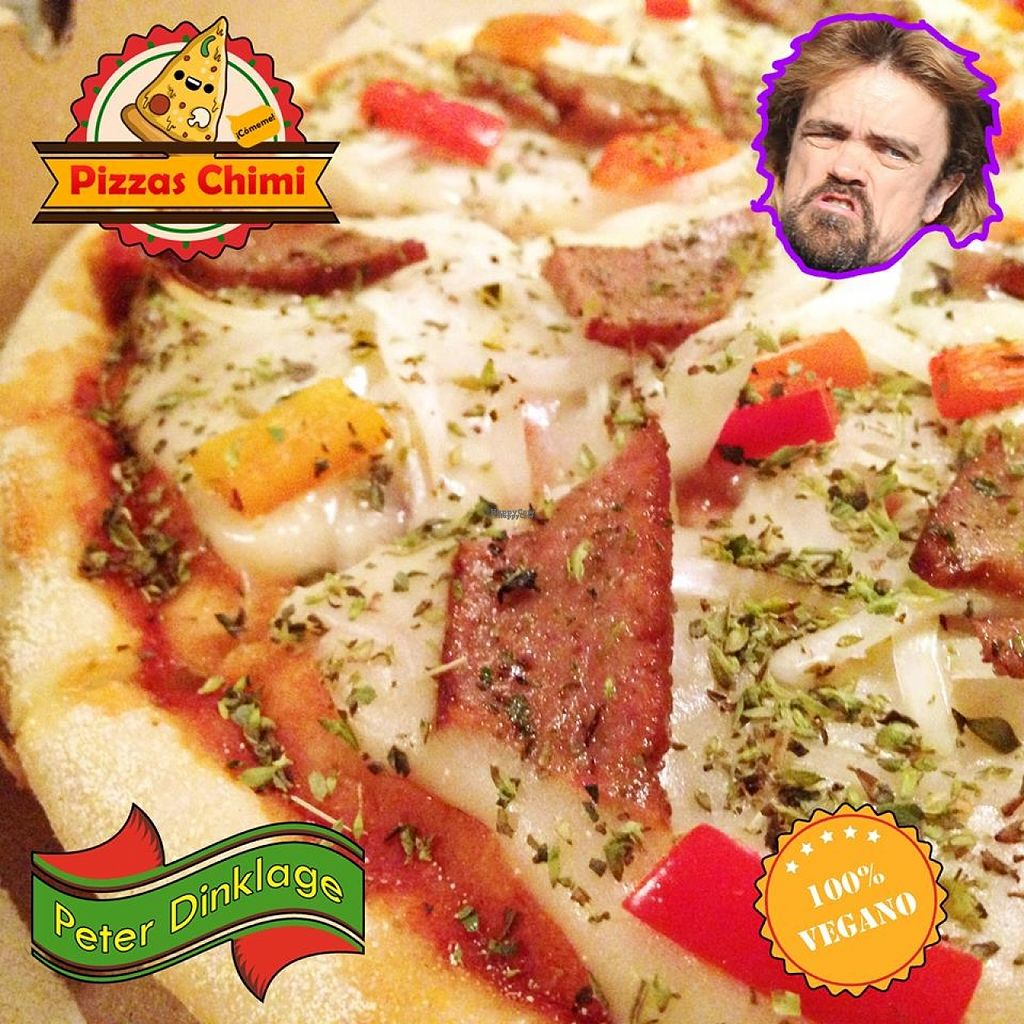 """Photo of Pizzas Veganas Chimi  by <a href=""""/members/profile/madjennsy"""">madjennsy</a> <br/>""""oh how yummy this pizza is!!""""  Words of Peter Dinklage himself in this picture. I would trust him :P  PIZZA PETER DINKLAGE:  crust that is moist and crispy, tomatoes sauce, soft mozzarella made from oat milk, tasty vegan bacon, fresh onions and red pepper ñam! :) try it! —  <br/> November 1, 2016  - <a href='/contact/abuse/image/82232/185852'>Report</a>"""