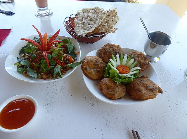 """Photo of P&B Restaurant  by <a href=""""/members/profile/lucyreadman"""">lucyreadman</a> <br/>Spicy Mango Salad and Fried Taro  <br/> August 18, 2017  - <a href='/contact/abuse/image/82237/293806'>Report</a>"""