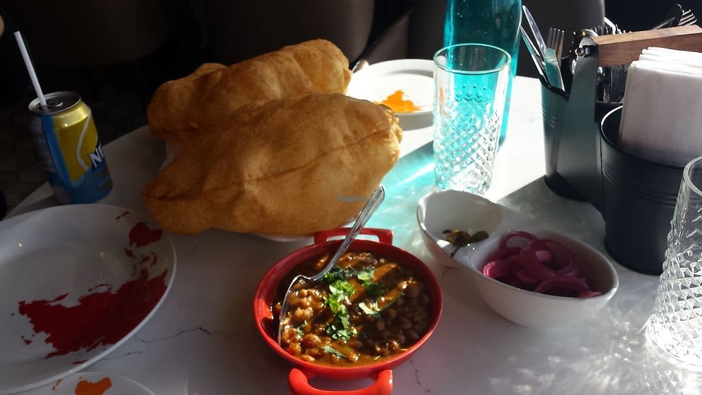 """Photo of Kailash Parbat  by <a href=""""/members/profile/BhairaviShankar"""">BhairaviShankar</a> <br/>Chole Bhatura - Fried Indian bread served with Chole masala (curried chickpeas) and onions <br/> February 4, 2017  - <a href='/contact/abuse/image/82249/222008'>Report</a>"""