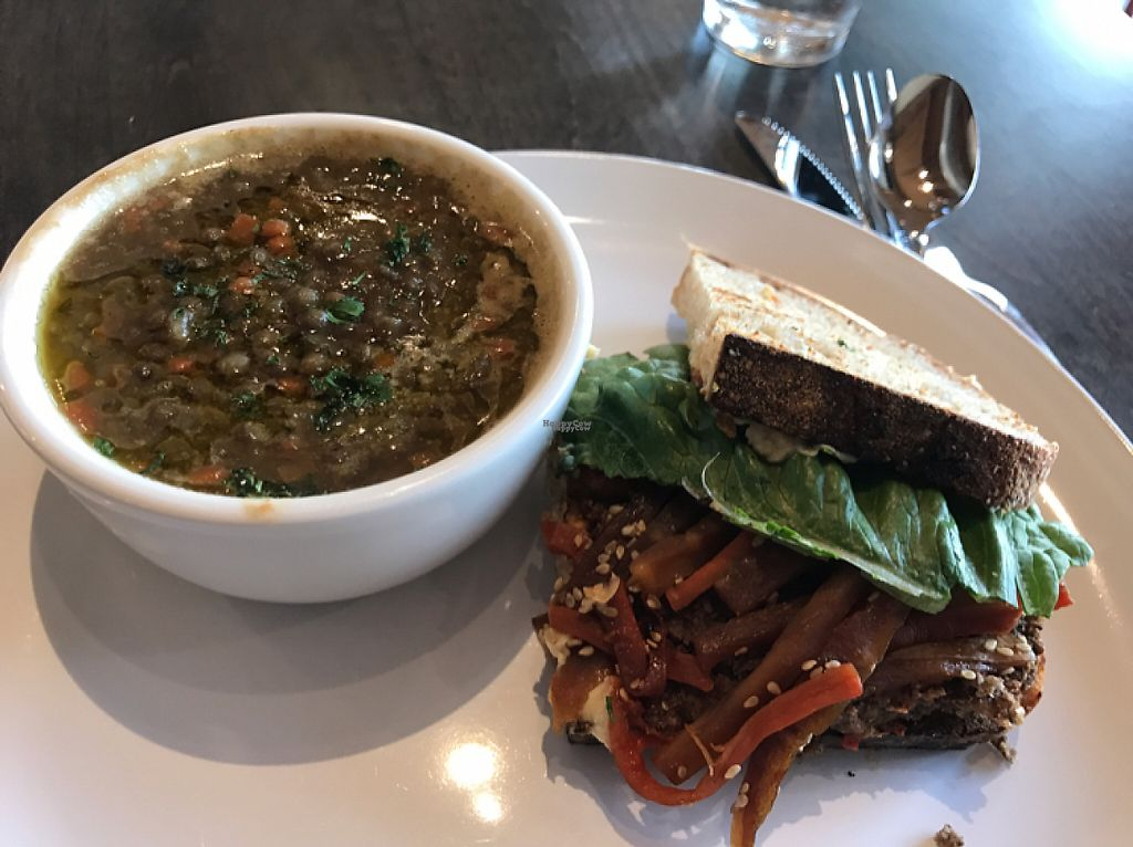 """Photo of Field & Fire Cafe  by <a href=""""/members/profile/ShellyArmstrongScott"""">ShellyArmstrongScott</a> <br/>1/2 sandwich and lentil soup <br/> February 20, 2017  - <a href='/contact/abuse/image/82257/228511'>Report</a>"""