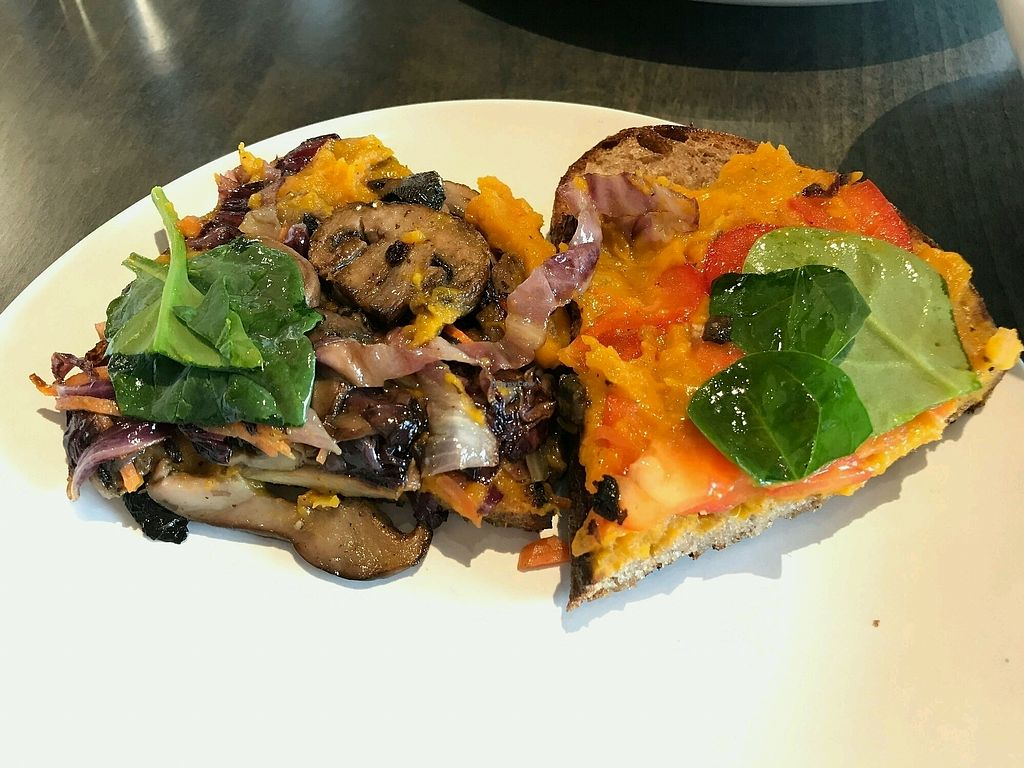 """Photo of Field & Fire Cafe  by <a href=""""/members/profile/AthenaTrombly"""">AthenaTrombly</a> <br/>The Sasquash: Butternut squash hummus, roasted veggies and fresh greens on 4 grain sourdough  <br/> February 25, 2018  - <a href='/contact/abuse/image/82257/363759'>Report</a>"""